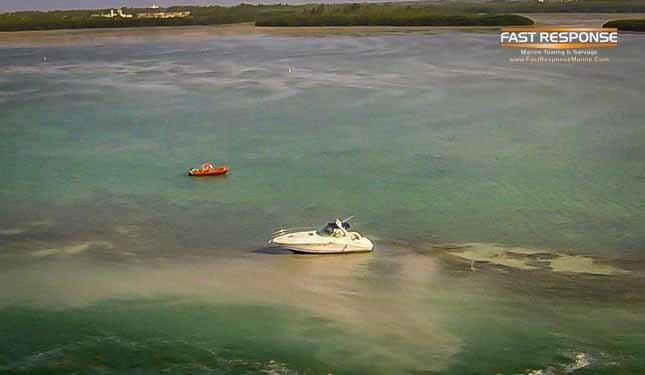 vessel aground on sandbar
