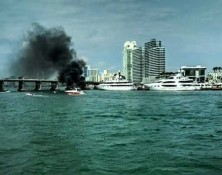 boat fire on the bay