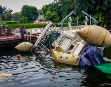 using airbags to refloat boat