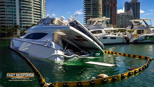 hatteras yacht crash in marina