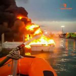 Capt. Chuck on scene at a boat fire.